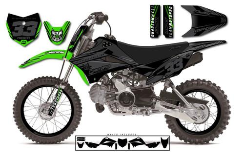 MotoPro Graphics Custom Kawasaki KLX110 Pit Bike GAMMA STEALTH Series Graphics - FREE SHIPPING