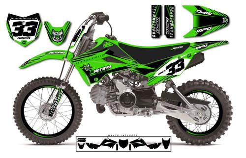 MotoPro Graphics Custom Kawasaki KLX110 Pit Bike GAMMA Series Graphics - FREE SHIPPING
