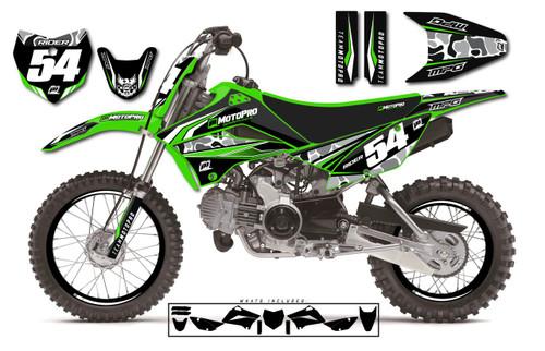 MotoPro Graphics Custom Kawasaki KLX110 Pit Bike MAJESTY Series Graphics - FREE SHIPPING