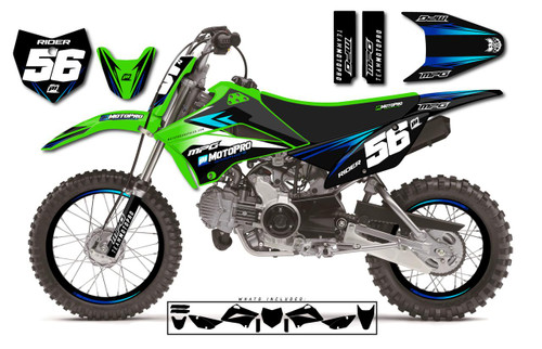 MotoPro Graphics Custom Kawasaki KLX110 Pit Bike PHANTOM Series Graphics - FREE SHIPPING