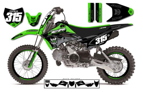 MotoPro Graphics Custom Kawasaki KLX110 Pit Bike POLY BLACK Series Graphics - FREE SHIPPING