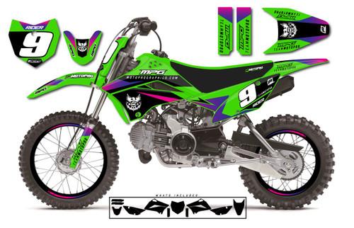 MotoPro Graphics Custom Kawasaki KLX110 Pit Bike SIENNA Series Graphics - FREE SHIPPING