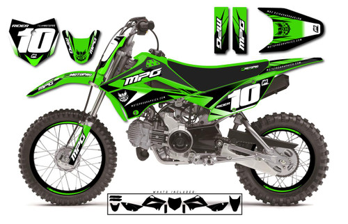 MotoPro Graphics Custom Kawasaki KLX110 Pit Bike STRIKER Series Graphics - FREE SHIPPING