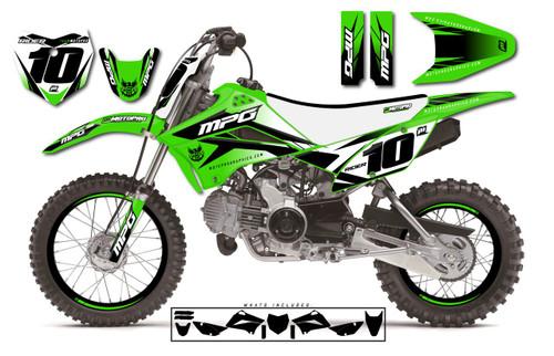 MotoPro Graphics Custom Kawasaki KLX110 Pit Bike STRIKER GREEN Series Graphics - FREE SHIPPING