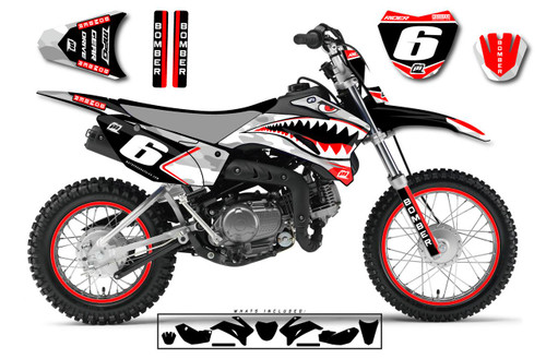 MotoPro Graphics Custom Yamaha TTR110 Pit Bike BOMBER Series Graphics - FREE SHIPPING