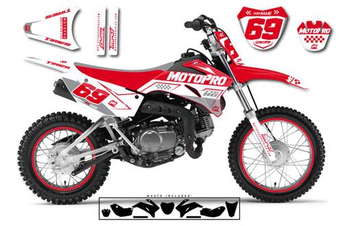 MotoPro Graphics Custom Yamaha TTR110 Pit Bike BOOST RED Series Graphics - FREE SHIPPING