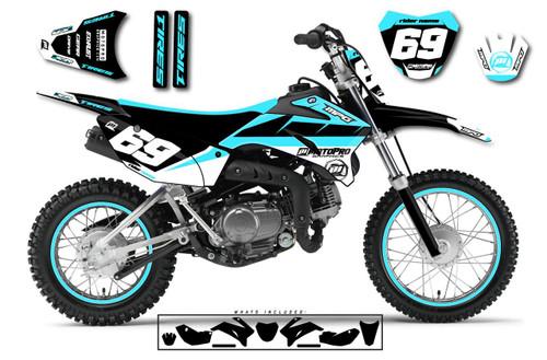 MotoPro Graphics Custom Yamaha TTR110 Pit Bike MOTORHEAD CYAN Series Graphics - FREE SHIPPING