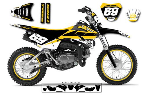 MotoPro Graphics Custom Yamaha TTR110 Pit Bike MOTORHEAD MUSTARD Series Graphics - FREE SHIPPING