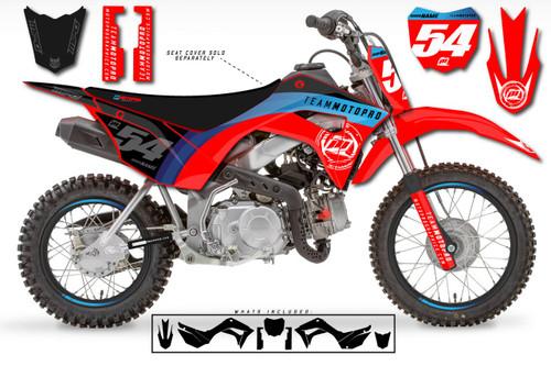 MotoPro Graphics Custom Honda CRF110 Pit Bike CURVE Series Graphics - FREE SHIPPING