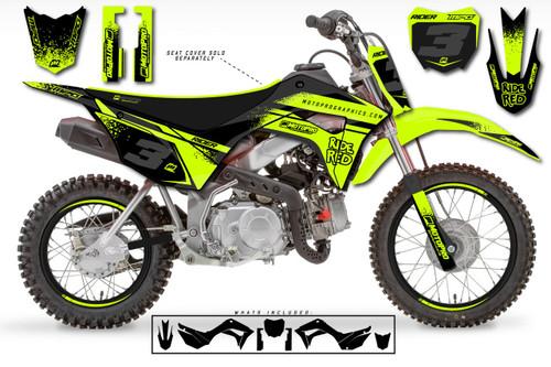 MotoPro Graphics Custom Honda CRF110 Pit Bike FLOWING YELLOW Series Graphics - FREE SHIPPING