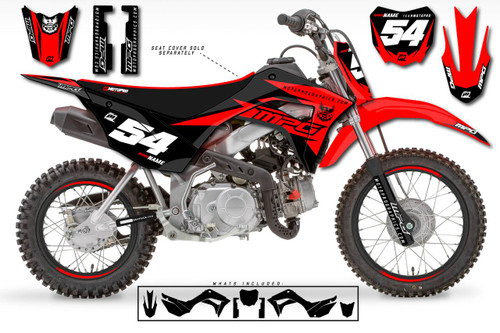 MotoPro Graphics Custom Honda CRF110 Pit Bike GAMMA BLACK Series Graphics - FREE SHIPPING