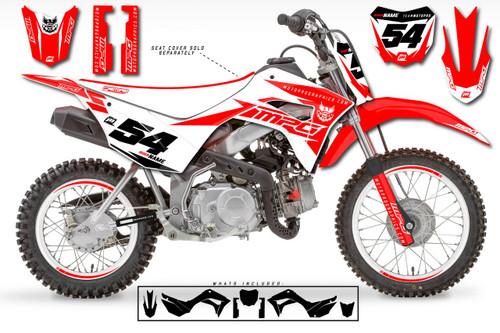 MotoPro Graphics Custom Honda CRF110 Pit Bike GAMMA WHITE Series Graphics - FREE SHIPPING