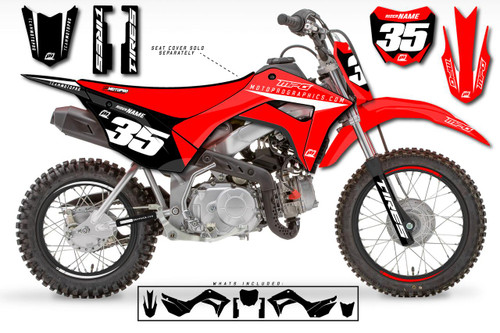 MotoPro Graphics Custom Honda CRF110 Pit Bike GENESIS BLACK Series Graphics - FREE SHIPPING
