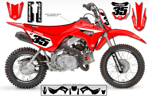 MotoPro Graphics Custom Honda CRF110 Pit Bike GENESIS RED Series Graphics - FREE SHIPPING