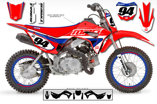 MotoPro Graphics Custom Honda CRF110 Pit Bike RIDE RED Series Graphics - FREE SHIPPING