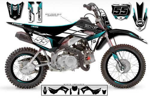 MotoPro Graphics Custom Honda CRF110 Pit Bike ROCKET BLACK Series Graphics - FREE SHIPPING