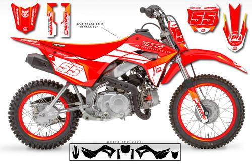 MotoPro Graphics Custom Honda CRF110 Pit Bike ROCKET RED Series Graphics - FREE SHIPPING