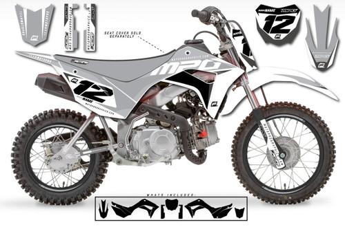MotoPro Graphics Custom Honda CRF110 Pit Bike WURX GREY Series Graphics - FREE SHIPPING