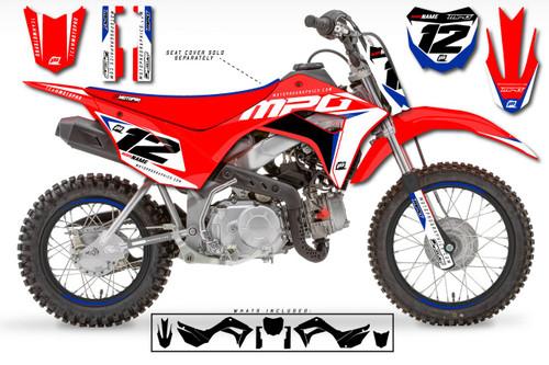 MotoPro Graphics Custom Honda CRF110 Pit Bike WURX RED Series Graphics - FREE SHIPPING