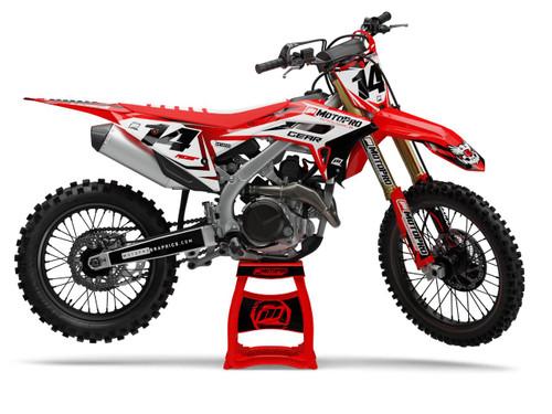 MotoPro Graphics Honda Dirt Bike Striker Series Red Black Graphics