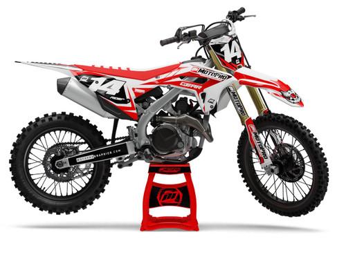 MotoPro Graphics Honda Dirt Bike Striker Series Red White Graphics