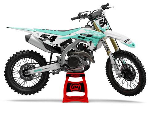 MotoPro Graphics Honda Dirt Bike Gamma White Aqua Graphics