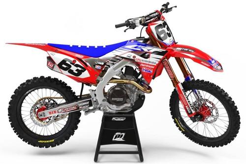 MotoPro Graphics Honda CRF450R Dirt Bike Platinum Red Blue Graphics Includes Chrome