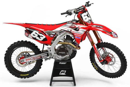 MotoPro Graphics Honda CRF450R Dirt Bike Platinum Red Black Graphics Includes Chrome