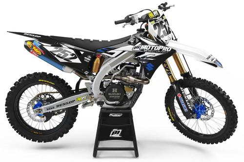 MotoPro Graphics Suzuki RMZ450 Dirt Bike Evader Series White and Cyan Graphics