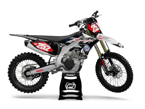 MotoPro Graphics Suzuki Dirt Bike Evader Series White and Red Graphics