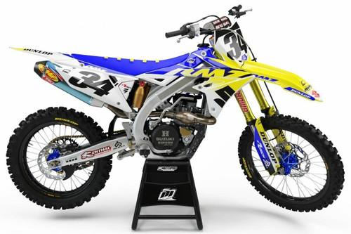 MotoPro Graphics Suzuki RMZ450 Dirt Bike Genesis Blue Graphics - RMZ450