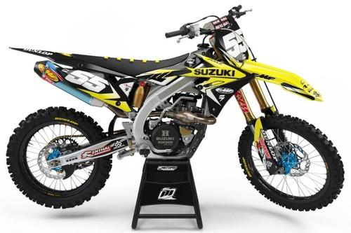 MotoPro Graphics Suzuki RMZ450 Dirt Bike Striker Black Graphics - RMZ450