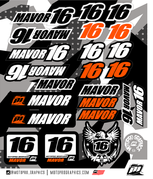 MotoPro Graphics Custom Rider ID Sheet