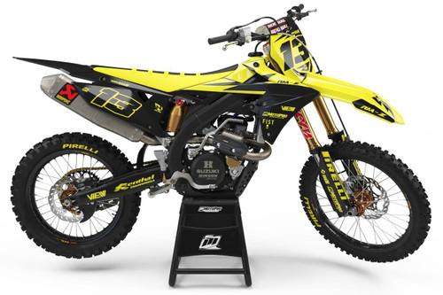 MotoPro Graphics Suzuki RMZ450 Dirt Bike Thunder Yellow Graphics