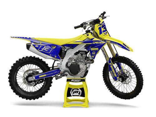 MotoPro Graphics Suzuki Dirt Bike Thunder Yellow Blue Graphics