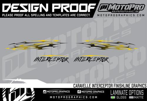 MotoPro Graphics Caravelle Interceptor Tribal Graphics - Yellow