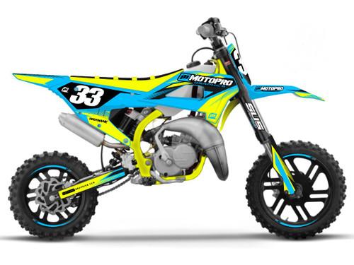 MotoPro Graphics Cobra Dirt Bike ONYX CYAN YELLOW Graphics Set