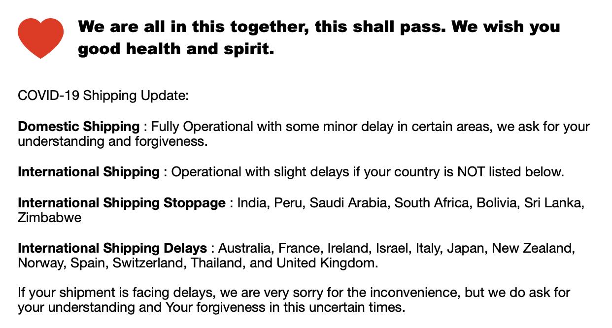 covid-19 shipping status update