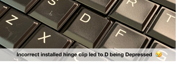 letter D is sitting lower than rest of the keys