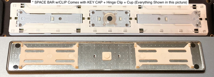 Space Bar Key kit comes with hinge clip and clear rubber cup parts