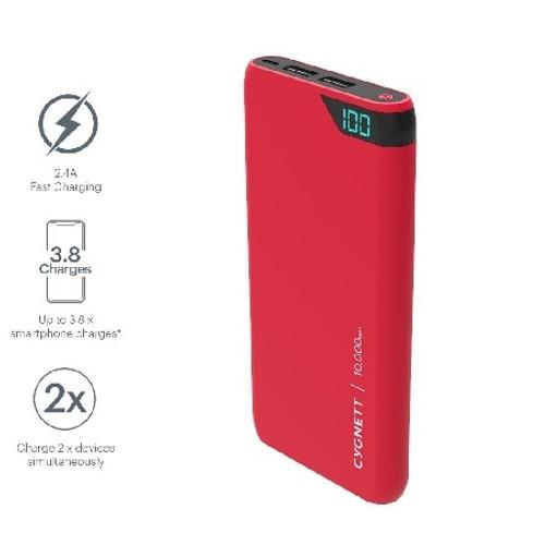 CYGNETT CY2504PBCHE 10,000 mAh Portable Power Bank - Red