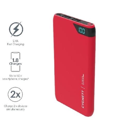 CYGNETT CY2500PBCHE 5,000mAh Power Bank - Red
