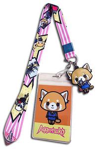 Aggretsuko - Aggretsuko On Cell Phone w/ Striped Pink Strap