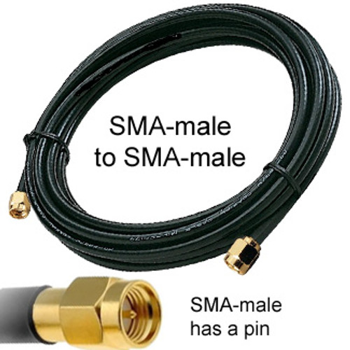 Antenna cable: SMA male To SMA male: SMA male has a pin and has threads on the inside.