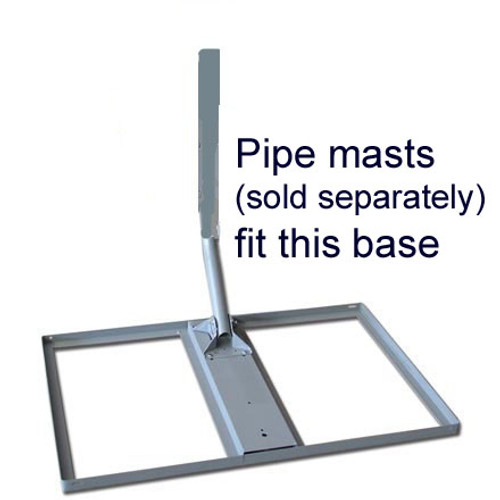Non-penetrating roof mount base shown with pipe-mast installed on the base