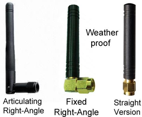 LEFT:  ADD2RAv2 is all plastic except for the connector.   CENTER: Fixed right-angle version, which has an all-brass base and is weatherproof rated IP65.  RIGHT: Straight version, which has an all-brass straight base (connector section) and has weatherproof rating IP65.