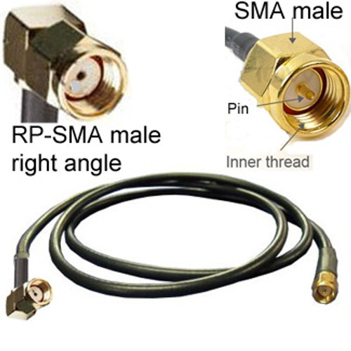 RP-SMA right angle connector on left.  SMA male (straight) connector on right.  RP-SMA male does not have a pin (it has a socket).  SMA-male has a pin.