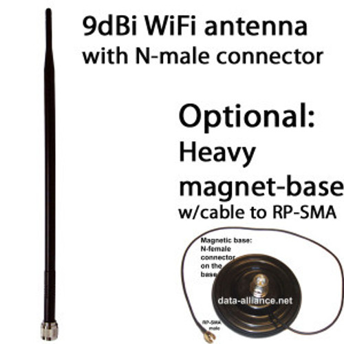 Antenna 9dBi omni 2.4GHz w/ N-male connector. WiFi. Dipole
