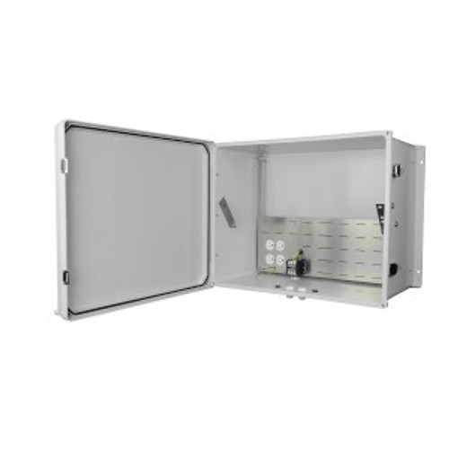 "NEMA  19"" rack-mountable indoor/outdoor enclosure"