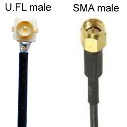 U.FL male to SMA-male cable:  Note that the U.FL male is the gender of U.FL that is the jack on wireless devices, such as wireless cards, PCBs, and Bluetooth beacons.